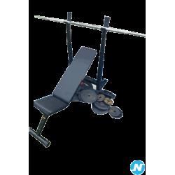 Banc de musculation avec poids et barre