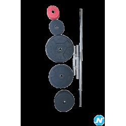 Lot de 22 poids en fonte et 3 barres de musculation decathlon